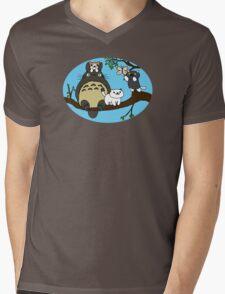 Totoro X Neko Atsume Mens V-Neck T-Shirt