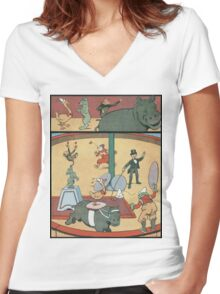 Vintage famous art - Benjamin Rabier - Animal Circus  Women's Fitted V-Neck T-Shirt