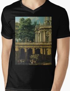 Vintage famous art - Bernardo Bellotto  - Architectural Caprice With A Palace 1765 Mens V-Neck T-Shirt