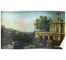 Vintage famous art - Bernardo Bellotto  - Architectural Caprice With A Palace 1765 Poster