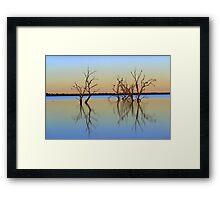 Sunrise over irrigation storage Framed Print