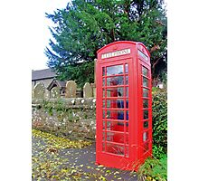Call Home - Home Call, Red Royal Phone Booth, at a grave yard, cemetery  Photographic Print