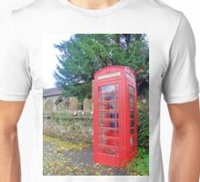Call Home - Home Call, Red Royal Phone Booth, at a grave yard, cemetery  Unisex T-Shirt