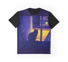 Cat at Night in the Old Neighborhood Graphic T-Shirt