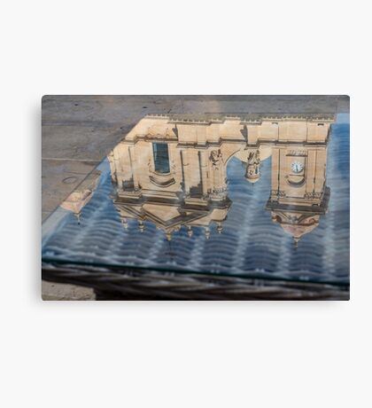 Reflecting on Noto Cathedral Saint Nicholas of Myra - Sicily, Italy Canvas Print