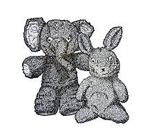 Ellie & Slightly Surprised Rabbit Photographic Print
