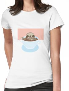 Sloth in a cup 1 Womens Fitted T-Shirt