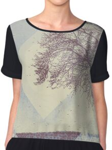 Winter Weather Muted Blue Tree Silhouette Chiffon Top