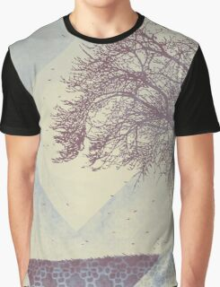 Winter Weather Muted Blue Tree Silhouette Graphic T-Shirt