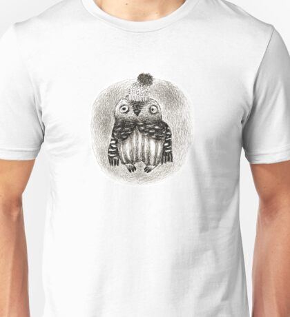 Baby Owl in a Funny Hat Unisex T-Shirt