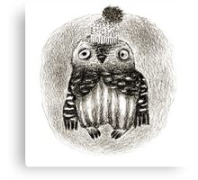 Baby Owl in a Funny Hat Canvas Print