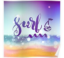 Surf lettering on a  defocus blurred summer background. Poster