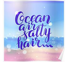Surf lettering  Ocean air salty hair on a  defocus blurred summer background Poster