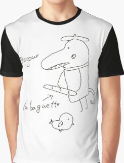 Illustration of crocodile with bread and bird  Graphic T-Shirt