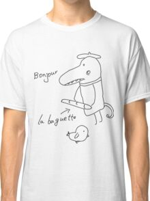 Illustration of crocodile with bread and bird  Classic T-Shirt
