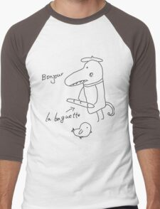 Illustration of crocodile with bread and bird  Men's Baseball ¾ T-Shirt