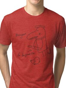 Illustration of crocodile with bread and bird  Tri-blend T-Shirt