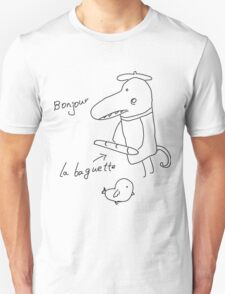 Illustration of crocodile with bread and bird  Unisex T-Shirt