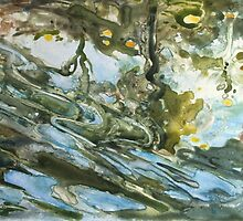 Eddying water,  original watercolour by Mary Faux Jackson by HurstPainters