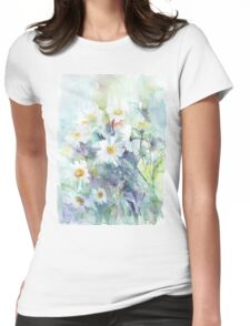 Watercolour daisies Womens Fitted T-Shirt