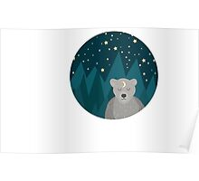 Cute white bear on background Poster