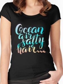 Surf lettering on a  defocus blurred summer background Women's Fitted Scoop T-Shirt