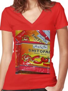 Shito.. not shit.... Very Hot pepper Sauce from Ghana, West Africa Women's Fitted V-Neck T-Shirt