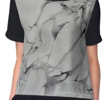 Gray Watercolor Marble Texture Chiffon Top