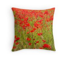 poppies in the field Throw Pillow