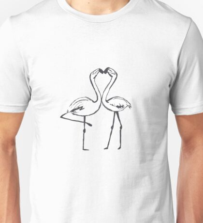 Flamingo Kiss Love Design Unisex T-Shirt