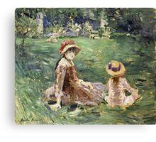 Vintage famous art - Berthe Morisot  - In The Garden At Maurecourt Canvas Print