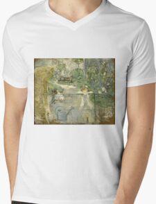 Vintage famous art - Berthe Morisot  - The Basket Chair Mens V-Neck T-Shirt