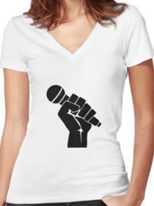 Grip the microphone Women's Fitted V-Neck T-Shirt