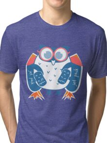 Owl in glasses with jet pack, rocket pack Tri-blend T-Shirt