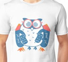 Owl in glasses with jet pack, rocket pack Unisex T-Shirt