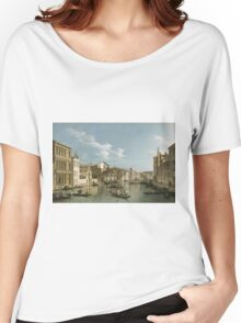Vintage famous art - Canaletto Antonio - Grand Canal From Palazzo Flangini To Palazzo Bembo 1735 - 1745  Women's Relaxed Fit T-Shirt