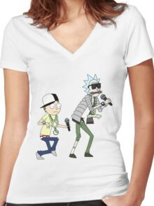 rick n morty dance Women's Fitted V-Neck T-Shirt