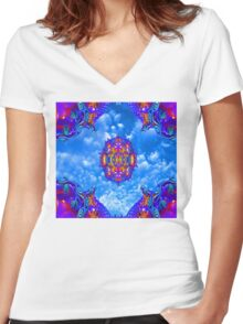 Sky Horizon Women's Fitted V-Neck T-Shirt