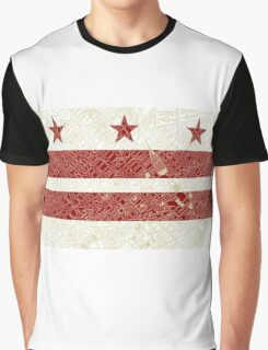 Washington DC Flag w/ Vintage Map  Graphic T-Shirt