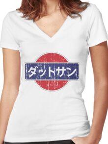 Datsun Japan Grunge Women's Fitted V-Neck T-Shirt