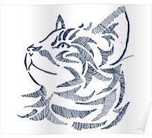 Cat Artwork Hand Drawn DigitalArt Poster