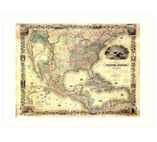 Map of the United States of America by J.H. Colton (1849) Art Print