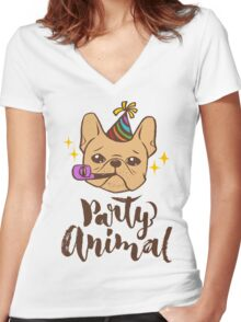 Party Animal Women's Fitted V-Neck T-Shirt