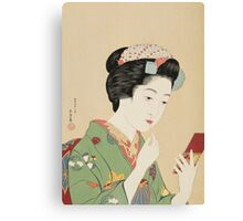 Vintage famous art - Hashiguchi Goyo -  Woman with rouge brush Canvas Print