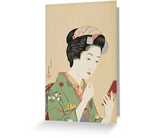 Vintage famous art - Hashiguchi Goyo -  Woman with rouge brush Greeting Card