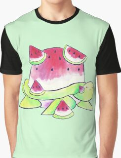 Watermelon Turtle Watercolor Graphic T-Shirt