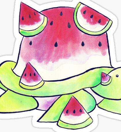 Watermelon Turtle Watercolor Sticker