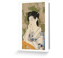 Vintage famous art - Hashiguchi Goyo - Woman At A Hot Spring Hotel Greeting Card