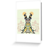 Golden Peacocks Greeting Card