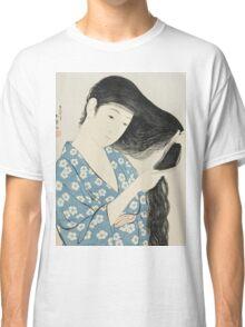 Vintage famous art - Hashiguchi Goyo - Woman Combing Her Hair (Kami Sukeru Onna) Classic T-Shirt